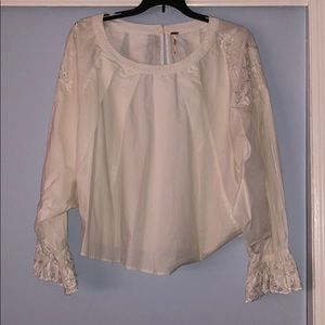 Free People White Blouse with Lace Details